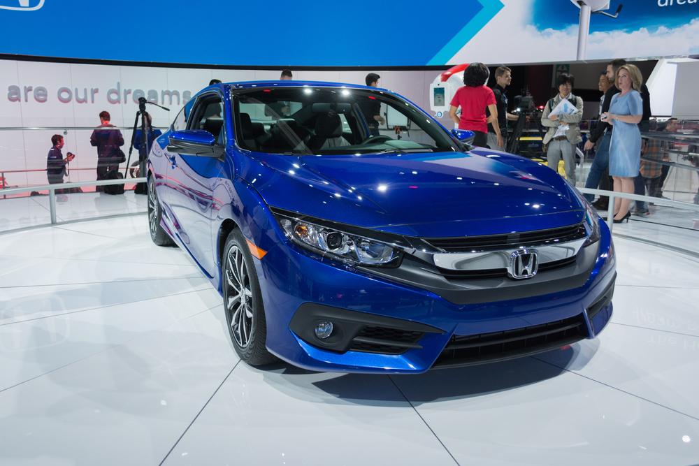 Honda Civic coupe on display during the 2015 Los Angeles Auto Show.