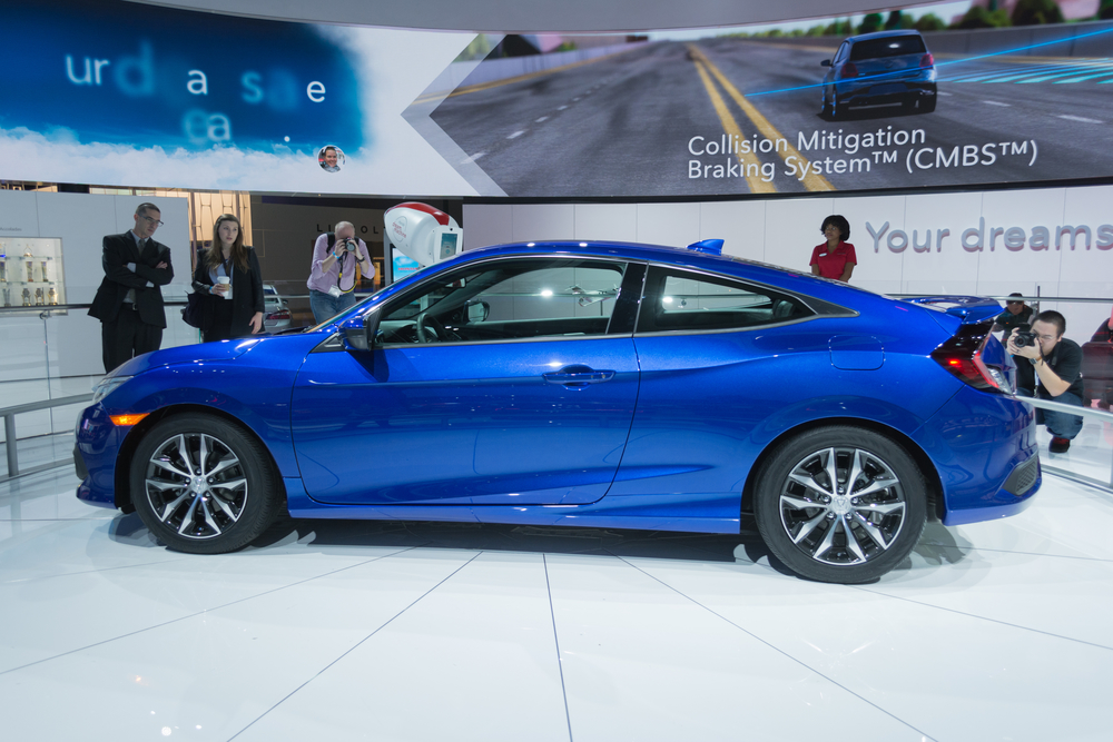 Honda Civic Coupe 2016 on display during the 2015 Los Angeles Auto Show