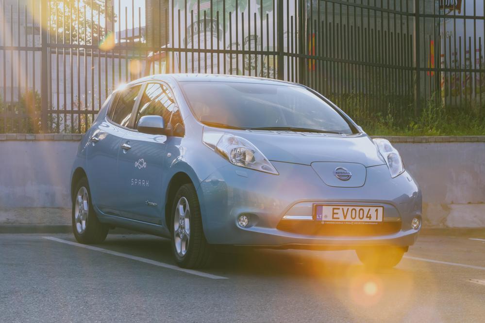 Silver Nissan Leaf Electric car