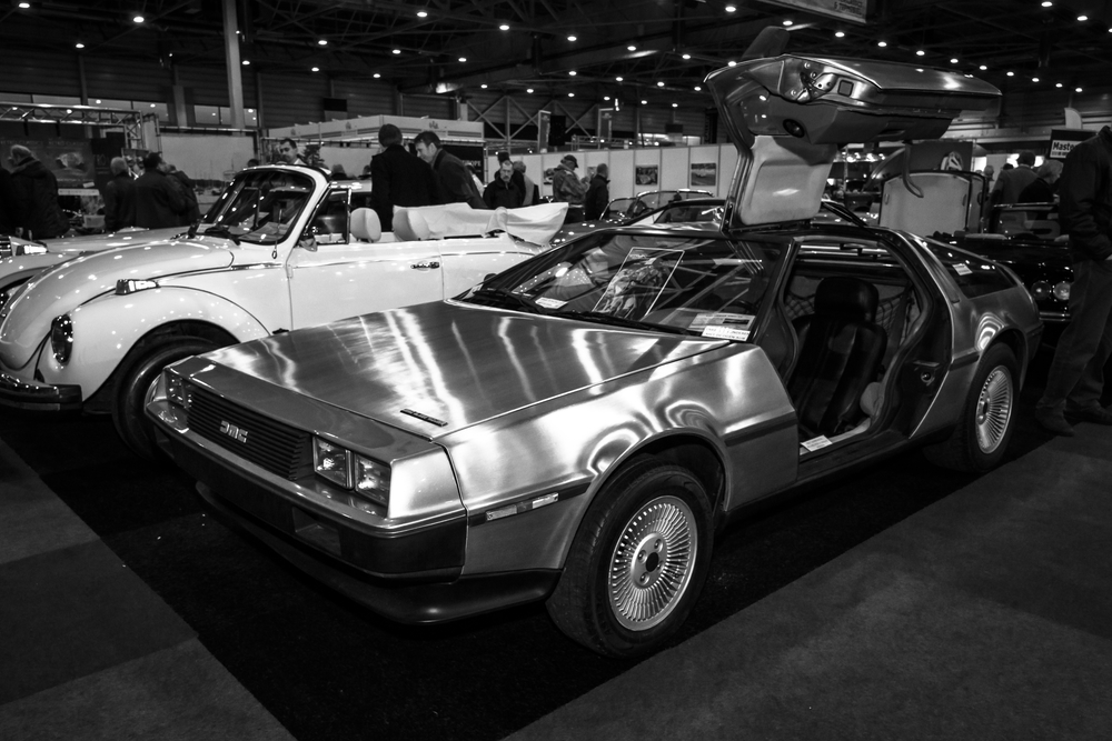 Sports car DeLorean DMC-12. Black and white. International Exhibition InterClassics & Topmobiel 2015