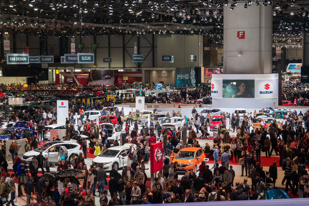 Geneva, Switzerland - March 14, 2015: Crowd in the exhibition hall during Geneva Motor Show 2015