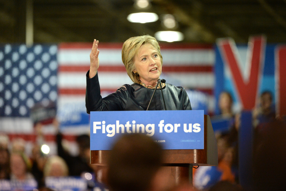 Saint Louis, MO, USA – March 12, 2016: Democratic presidential candidate and former Secretary of State Hillary Clinton campaigns at Carpenters Training Center in St. Louis.