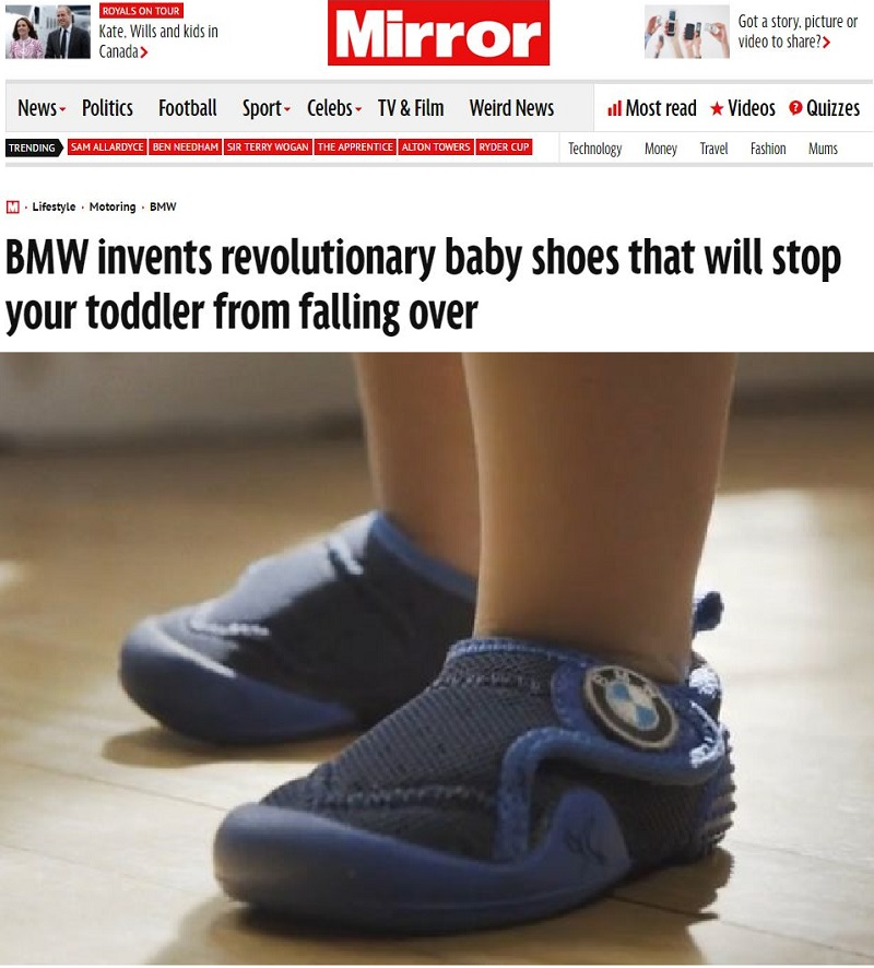Daily Mirror's BMW Baby Shoe Prank