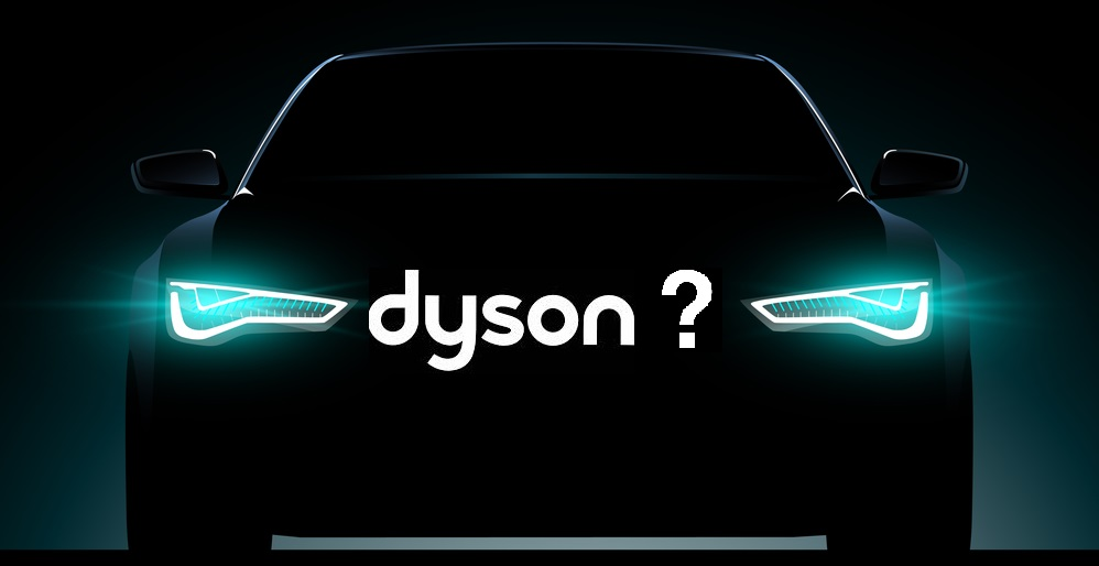 Dyson Car silhouette on black background with lights on