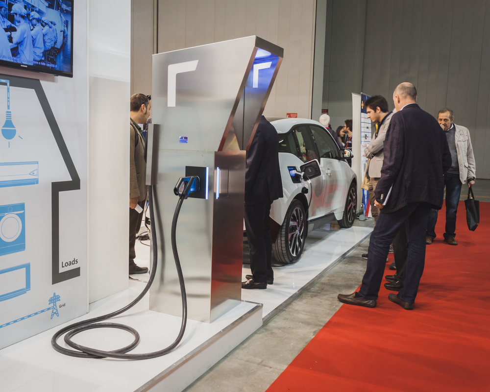 MILAN, ITALY - MAY 7: Charging station on display at Solarexpo, international exhibition for promoting innovative and renewable energy technology on MAY 7, 2014 in Milan.