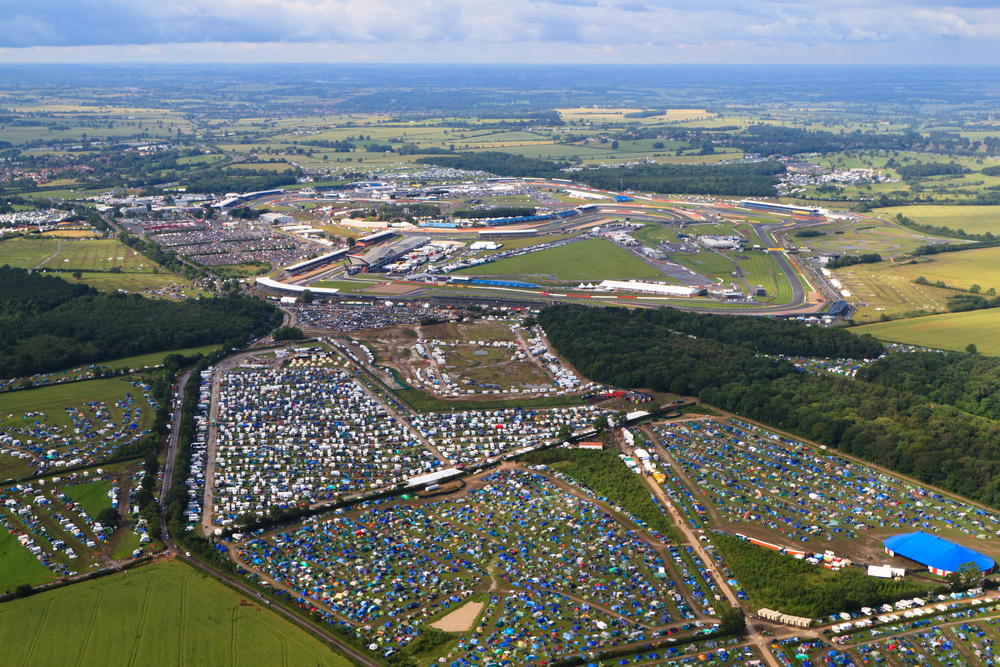 SILVERSTONE, UK - JULY 7: Aerial view of full campsites and adjacent Silverstone Circuit during Formula 1 Grand Prix weekend on July 7, 2012 in Silverstone.