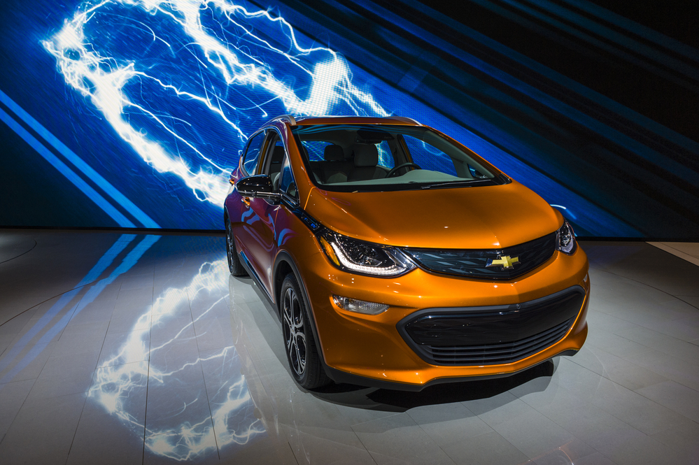 Chevrolet Bolt EV on display during the New York International Auto Show at the Jacob Javits Center.