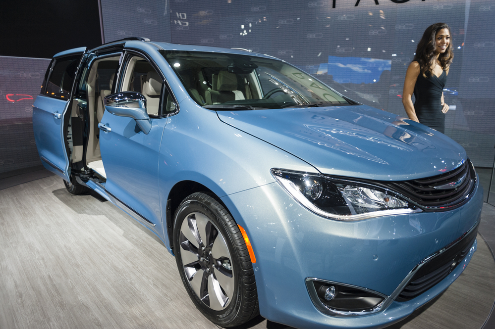 Chrysler Pacifica hybrid on display during the New York International Auto Show at the Jacob Javits Center.