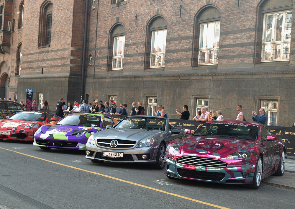 COPENHAGEN - MAY 18: Residents and car enthusiasts had a glimpse of the Gumball 3000 luxury sports cars a day before the race on the streets of Copenhagen, Denmark on May 18, 2013.