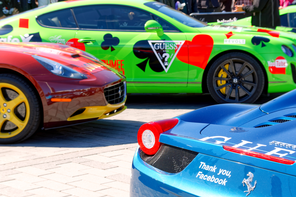 STOCKHOLM - MAY 23, 2015: Colorful sports-cars before the start of the public event Gumball 3000, May 23, 2015 in Stockholm, Sweden