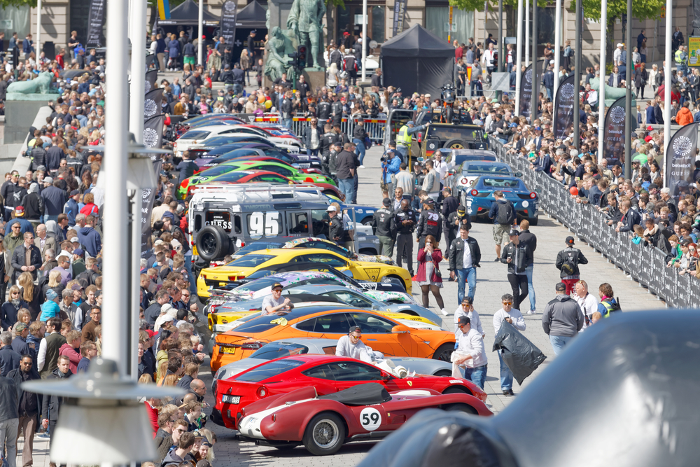 STOCKHOLM - MAY 23, 2015: Fast sports-cars before the start of the public event Gumball 3000, May 23, 2015 in Stockholm, Sweden