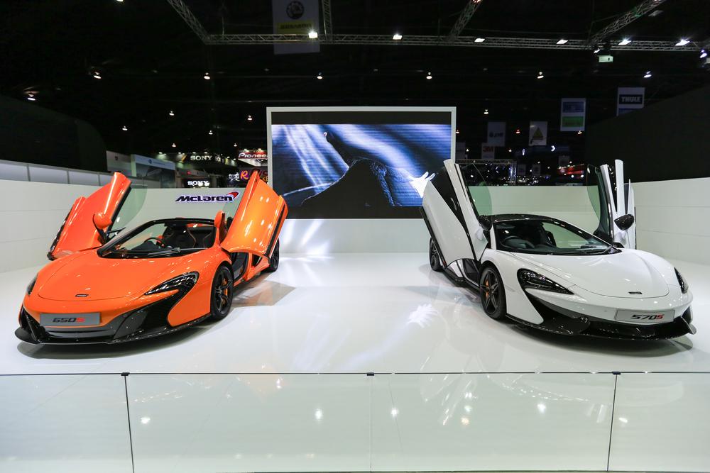 Nonthaburi, THAILAND March 31, 2016 : MCLaren super car on display at The 37th Bangkok International Thailand Motor Show 2016.