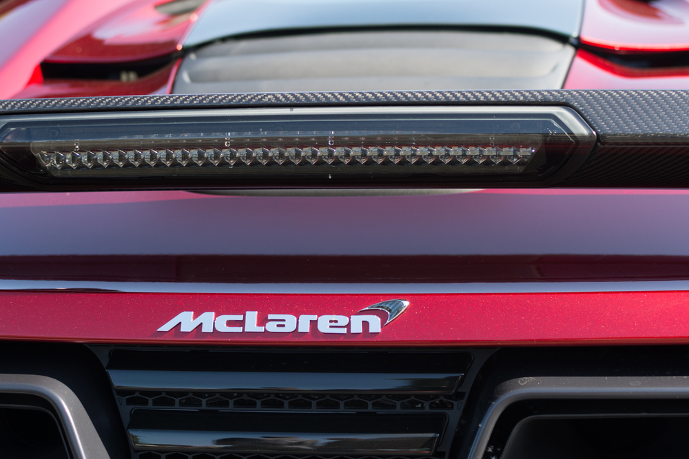 Woodland Hills, CA, USA - June 7, 2015: McLaren emblem car on display at the Supercar Sunday car event.