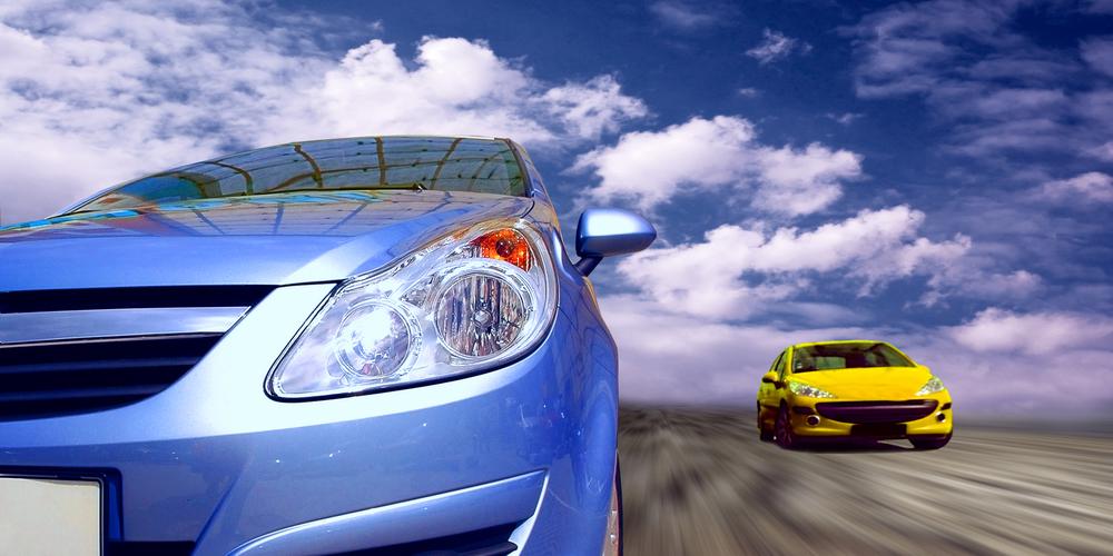 Beautiful sport cars on speed