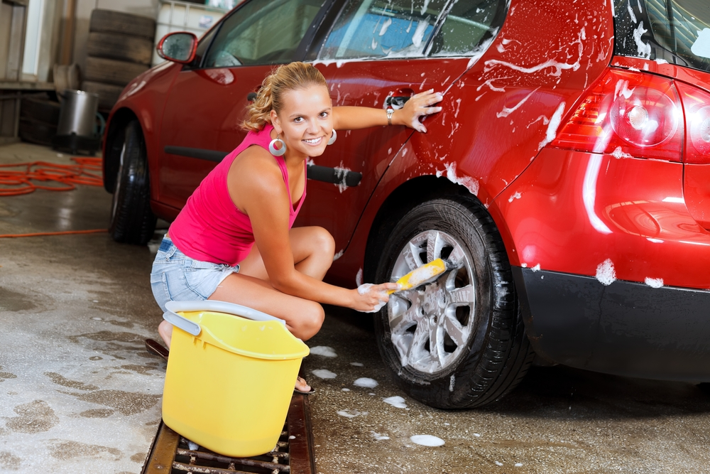 Sexy woman carwash