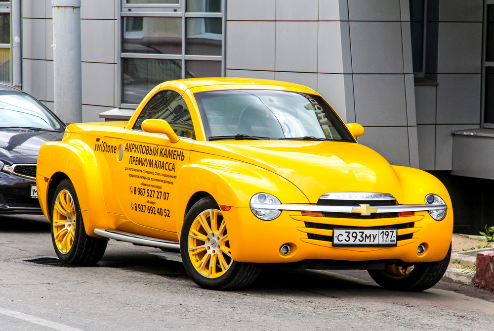 Yellow Chevrolet SR with Russian License Plates