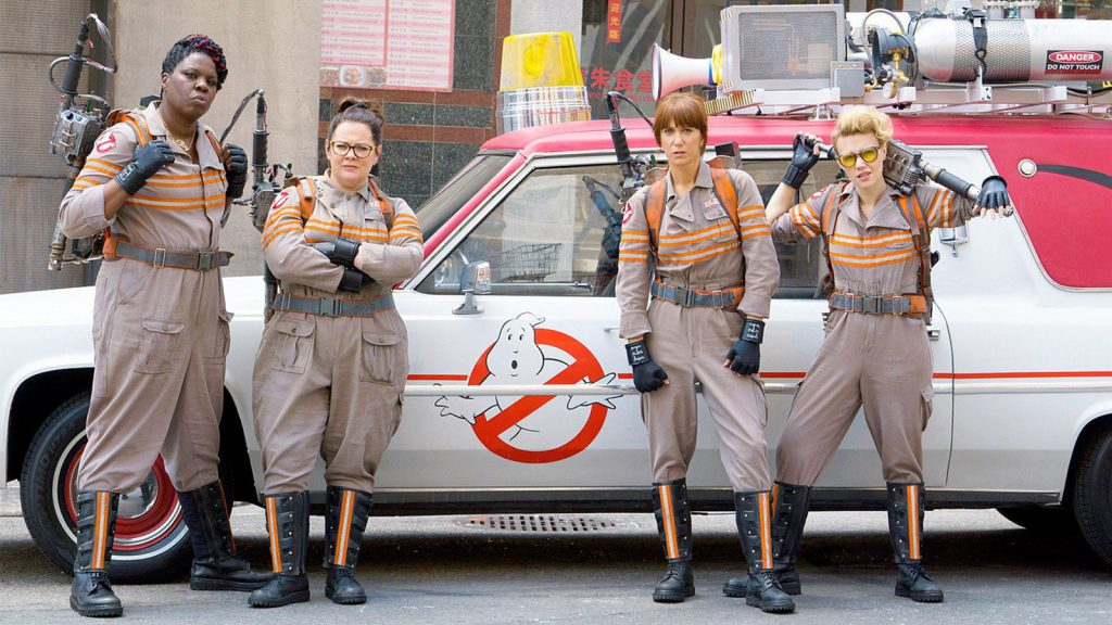 "From Left to Right: Leslie Jones, Melissa McCarthy, Kristen Wiig and Kate McKinnon in ""Ghostbusters"" (2016). Courtesy of Sony Pictures Entertainment."