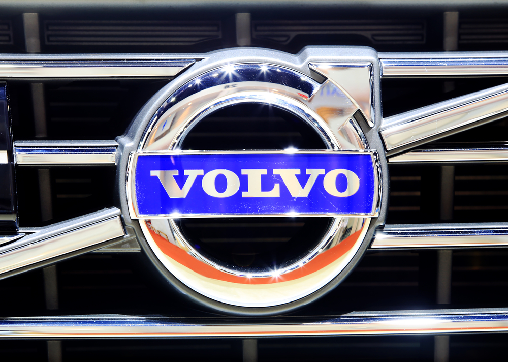 logo of Volvo on bumper