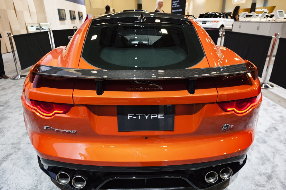 MIAMI, USA - SEPTEMBER 10, 2016: Jaguar F-Type SVR coupe on display during the Miami International Auto Show at the Miami Beach Convention Center.