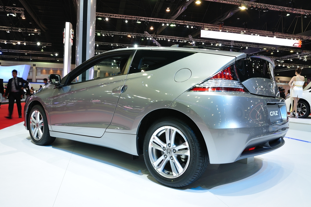 NONTHABURI - MARCH 25: Honda CR-Z on display at The 35th Bangkok International Motor show on MARCH 25, 2014 in Nonthaburi, Thailand.