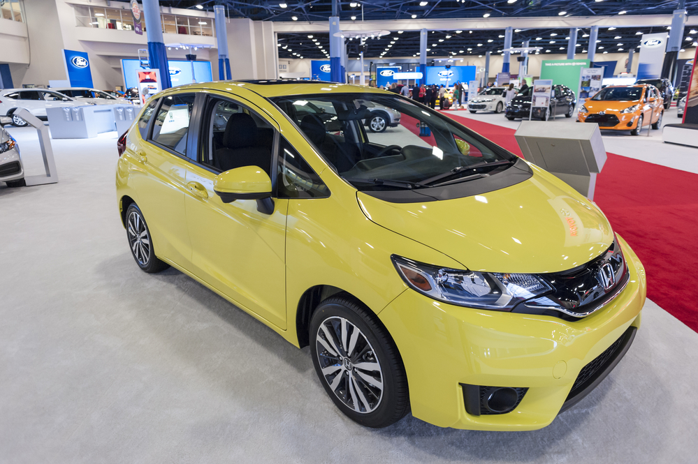 MIAMI BEACH, FL, USA - NOVEMBER 6, 2015: Honda Fit on display during the 2015 Miami International Auto Show at the Miami Beach Convention Center in downtown Miami Beach.
