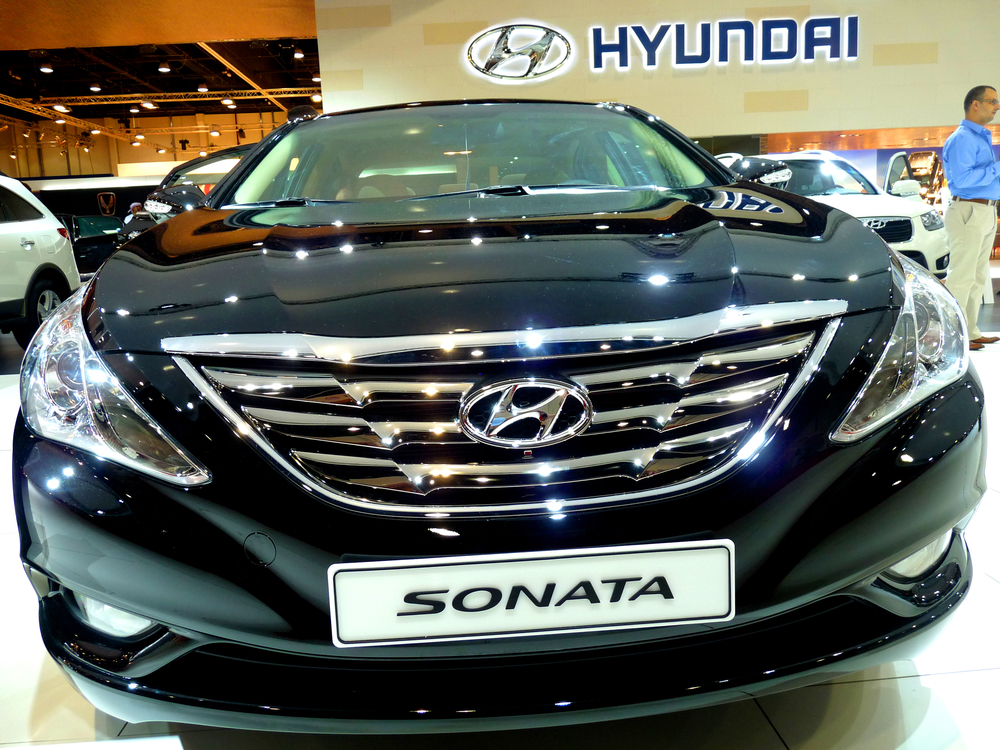 ABU DHABI, UAE - DECEMBER 10:Hyundai Sonata on display during Abu Dhabi Int'l Motor Show 2010 at Abu Dhabi Int'l Exhibition Centre December 10, 2010 in Abu Dhabi,United Arab Emirates.