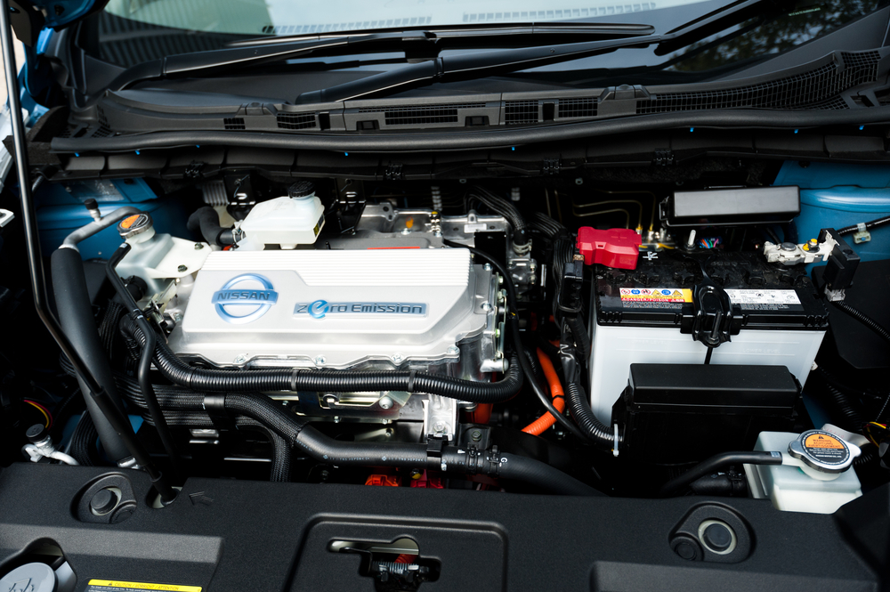 The electrical engine of a Nissan Leaf zero emission car in Hong Kong.