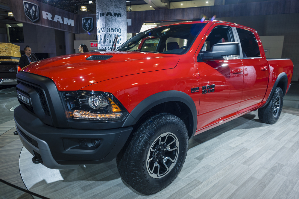 NEW YORK, USA - MARCH 24, 2016: RAM 1500 on display during the New York International Auto Show at the Jacob Javits Center.