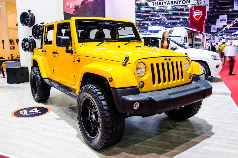Jeep Wrangler Sahara car on display at The 35th Bangkok International Motor Show on March 24, 2014 in Bangkok, Thailand.