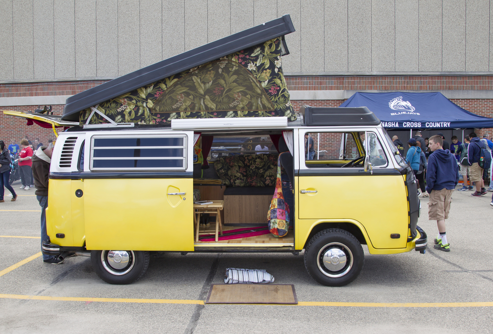 Side view of VW Westfalia Camper Bus at 7th Annual Car Show May 16, 2014 in Menasha, Wisconsin.
