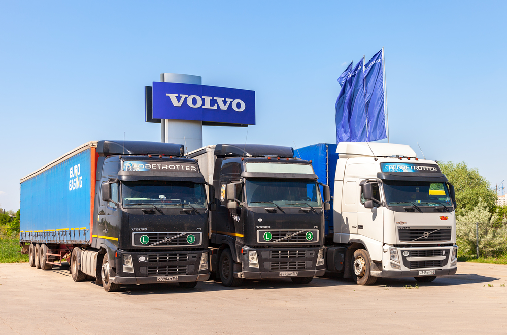 MAY 29, 2016: Volvo trucks parked at the service station in summer day. Volvo is a Swedish multinational automaker company