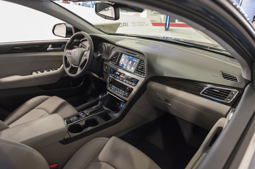 MIAMI BEACH, FL, USA - NOVEMBER 6, 2015: Hyundai Sonata hybrid interior on display during the 2015 Miami International Auto Show at the Miami Beach Convention Center in downtown Miami Beach.
