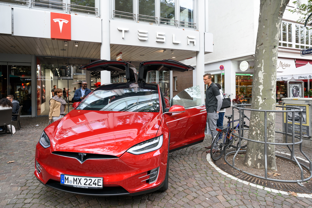 FRANKFURT, GERMANY - OCTOBER 08, 2016: Tesla machine shop in Frankfurt center. Tesla is an American public company designs, manufactures, and sells electric car