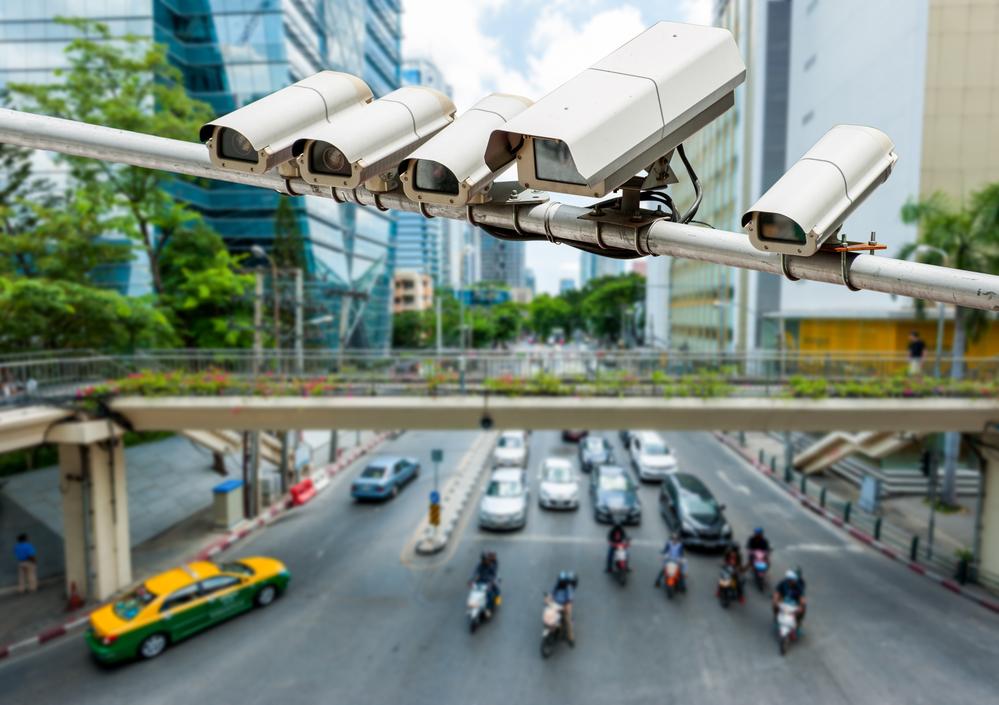 CCTV camera or surveillance operating on traffic road