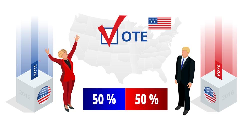 Us Election 2016 infographic Democrat Republican convention hall. Party presidential debate endorsement