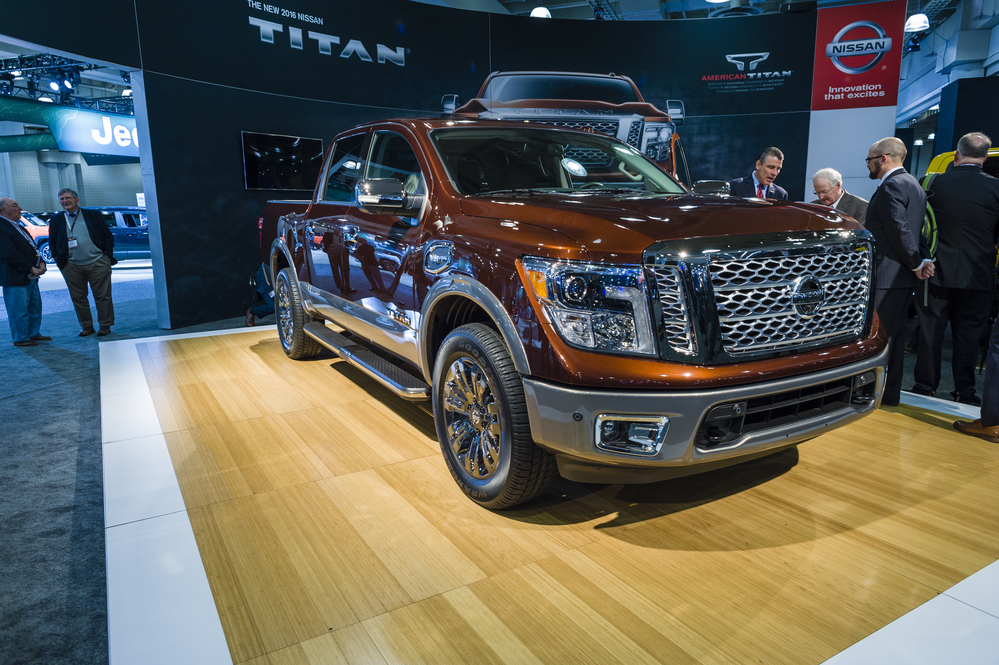 NEW YORK, USA - MARCH 24, 2016: Nissan Titan XD on display during the New York International Auto Show at the Jacob Javits Center.