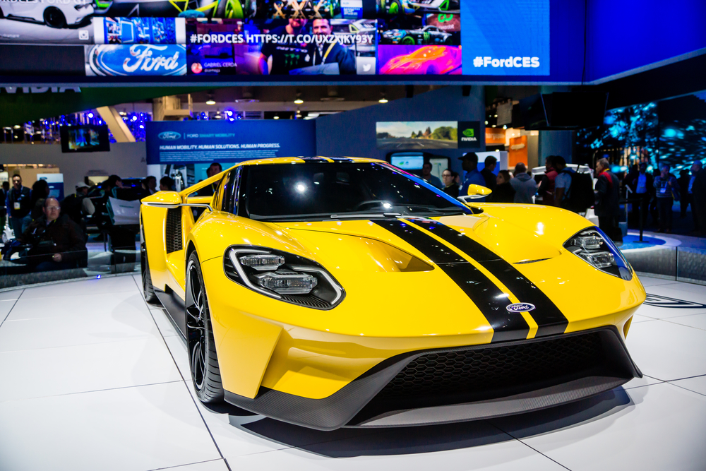 Las Vegas, NV, Jan. 9, 2017: Ford Motor Company displays the new GT-600 hp supercar at the 2017 Consumer Electronics Show (CES).