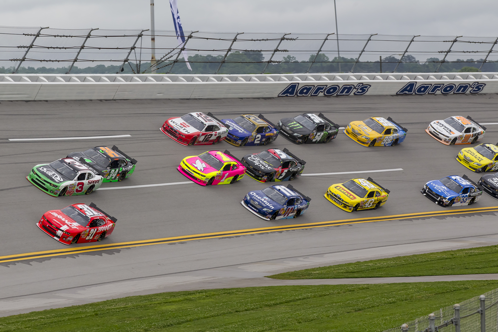 The NASCAR Nationwide teams take to the track for the Aarons 312 race at the Talladega Superspeedway in LINCOLN, AL on May 04, 2013.