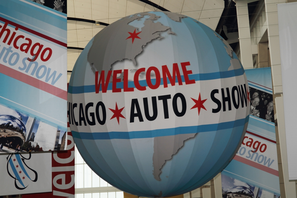 Chicago - February 16: Auto Show Globe in McCormick Place. Chicago Auto Show is one of the famous place in USA on February 16, 2017 in Chicago, Illinois