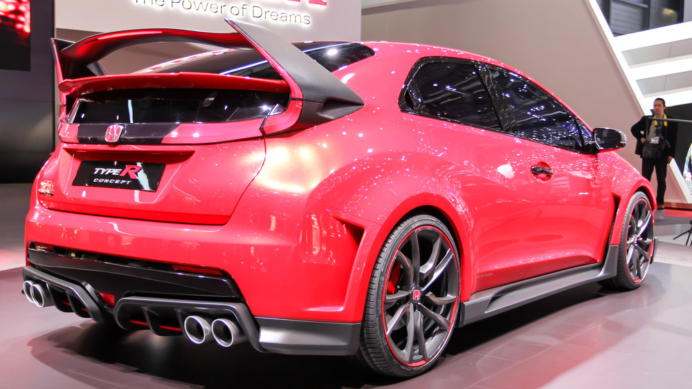 Geneva, Switzerland - March 2, 2014: 2014 Honda Civic Type R Concept presented on the 84th International Geneva Motor Show