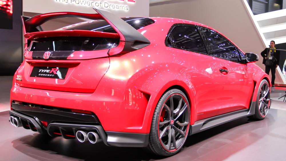 Geneva, Switzerland - March 2, 2014: 2014 Honda Civic Type R Concept presented on the 84th International Geneva Motor Show