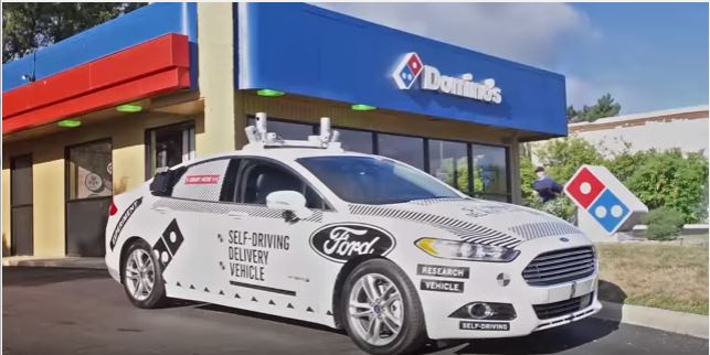 Domino's Pizza delivery in a self driving Ford Fusion in Ann Arbor, Michigan