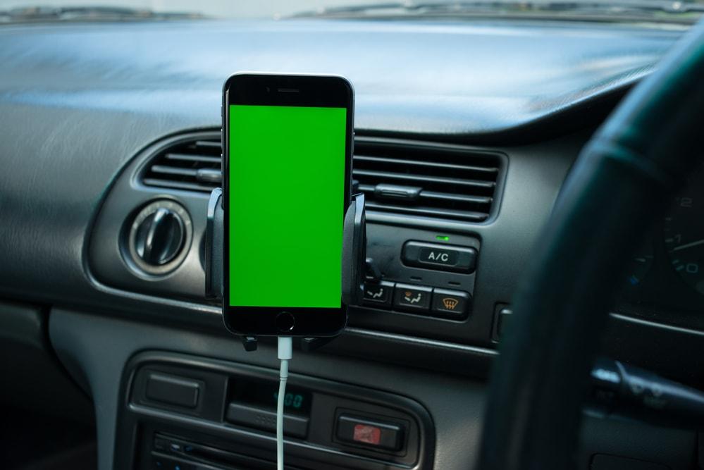 phone mounted on dash