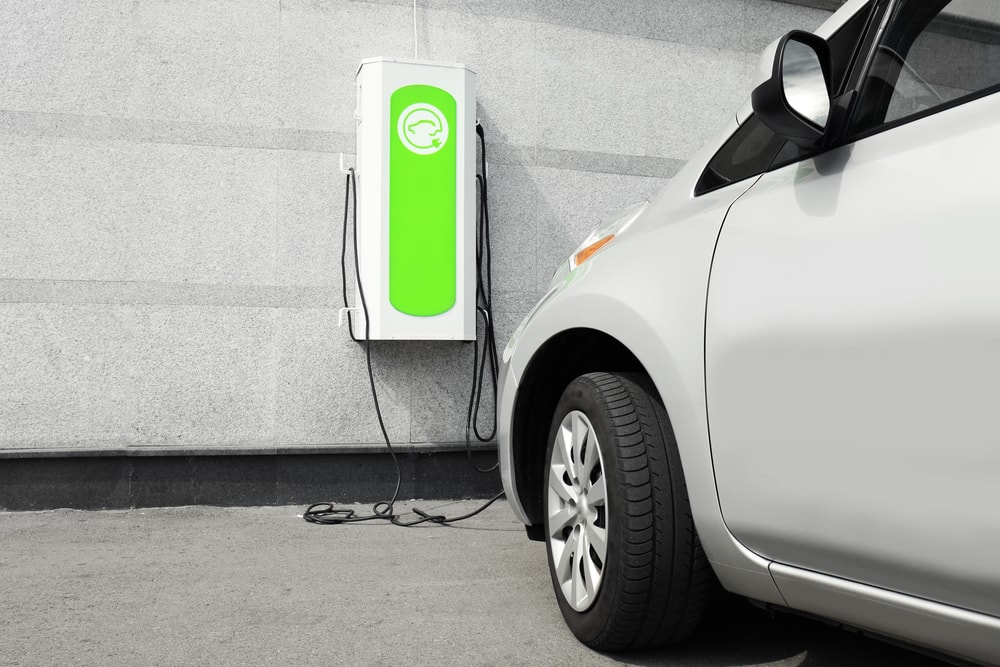 electric car in a garage