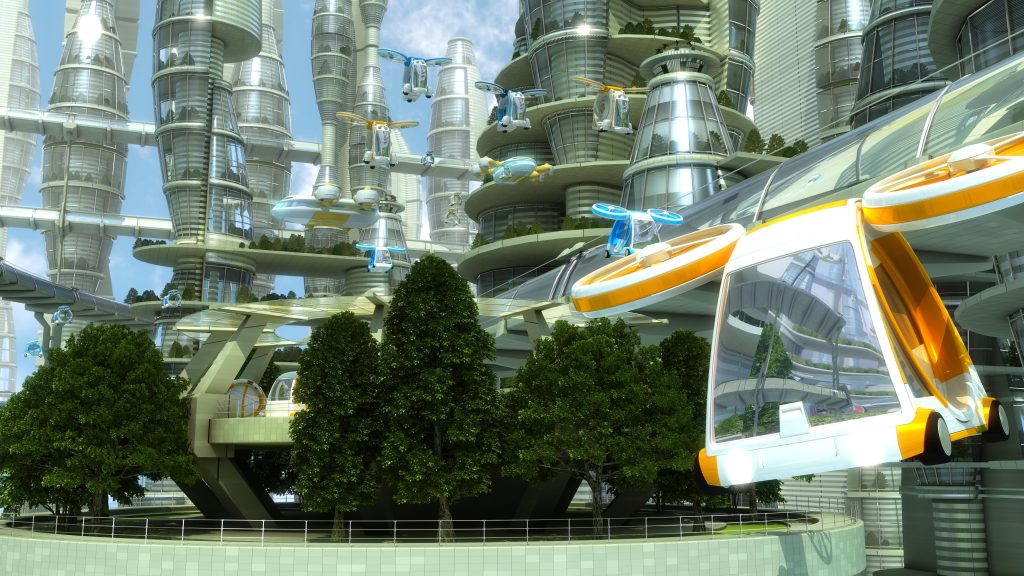 flying car in a future city