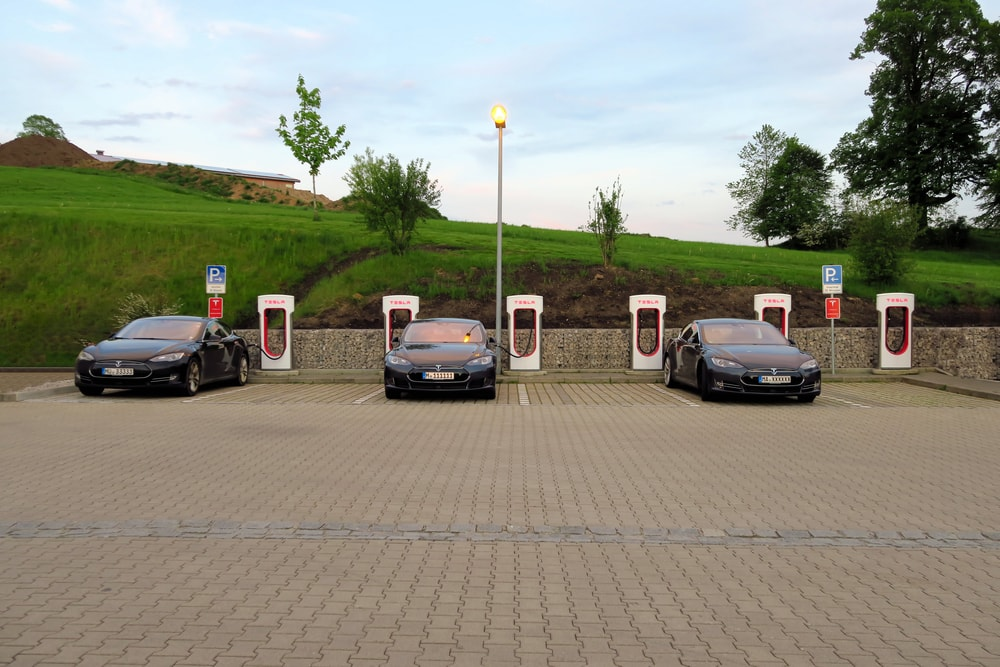 several teslas supercharging