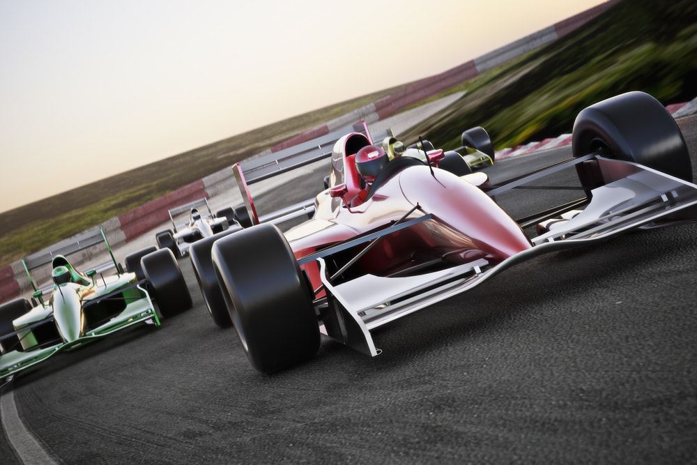 Formula one race cars on track