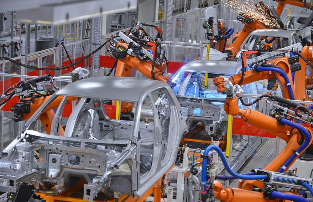 machines welding car steel